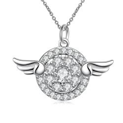 Vienna Jewelry Wings Emblem Pendant Drop Necklace - Thumbnail 0