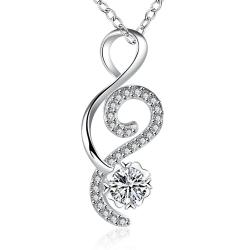 Vienna Jewelry Open Ended Heart Crystal Stone Drop Necklace - Thumbnail 0