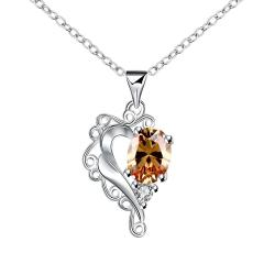 Vienna Jewelry Blossoming Orange Citrine Heart Shaped Drop Necklace - Thumbnail 0