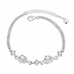 Vienna Jewelry Crystal Stone Diamond Shapped Petite Anklet - Thumbnail 0