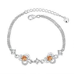 Vienna Jewelry Orange Citrine Hollow Floral Emblem Petite Anklet - Thumbnail 0