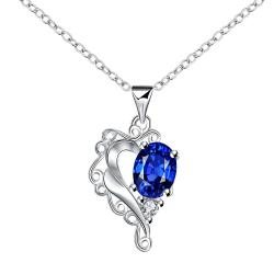 Vienna Jewelry Blossoming Sapphire Heart Shaped Drop Necklace - Thumbnail 0
