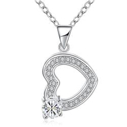 Vienna Jewelry Hollow Heart & Stone Drop Necklace - Thumbnail 0