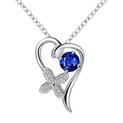 Vienna Jewelry Petite Mock Sapphire Hollow Heart Drop Necklace - Thumbnail 0