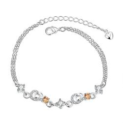 Vienna Jewelry Orange Citrine Hollow Hearts Petite Anklet - Thumbnail 0