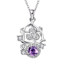 Vienna Jewelry Blossoming Spiral Floral Purple Citrine Gem Necklace - Thumbnail 0