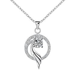 Vienna Jewelry Curved Spiral Circular Pendant Necklace - Thumbnail 0
