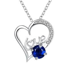 Vienna Jewelry Heart & Love Mock Sapphire Drop Necklace - Thumbnail 0