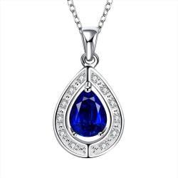 Vienna Jewelry Mock Sapphire Triangular Pendant Drop Necklace - Thumbnail 0