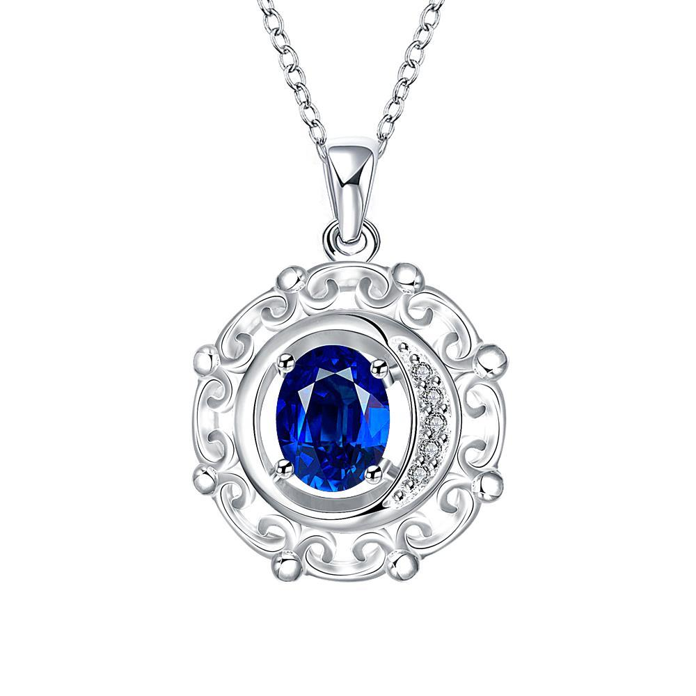 Vienna Jewelry Mock Sapphire Spiral Pendant Drop Necklace