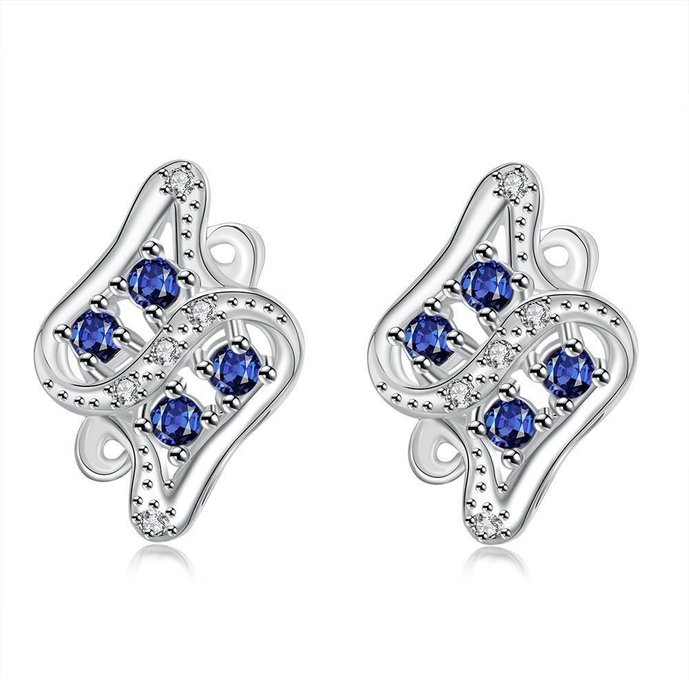 Vienna Jewelry Mock Sapphire Spiral Jewels Inlay Stud Earrings