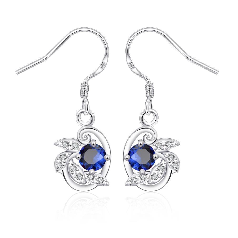 Vienna Jewelry Mock Sapphire Spiral Jewels Drop Earrings