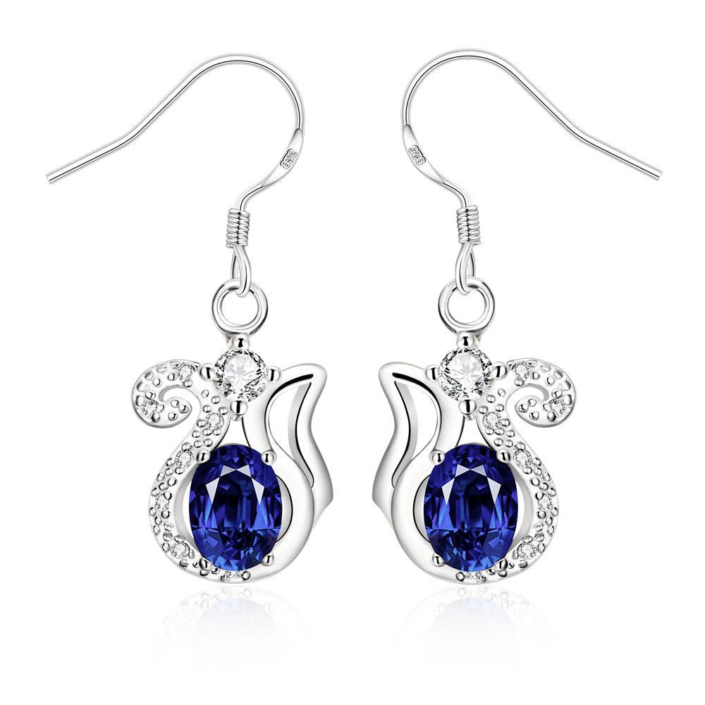 Vienna Jewelry Mock Sapphire Open Design Drop Earrings