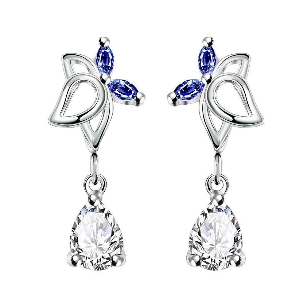 Vienna Jewelry Mock Sapphire Hollow Butterfly Dangling Earrings