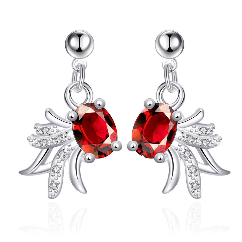 Vienna Jewelry Petite Ruby Red Spiral Blossoming Drop Earrings