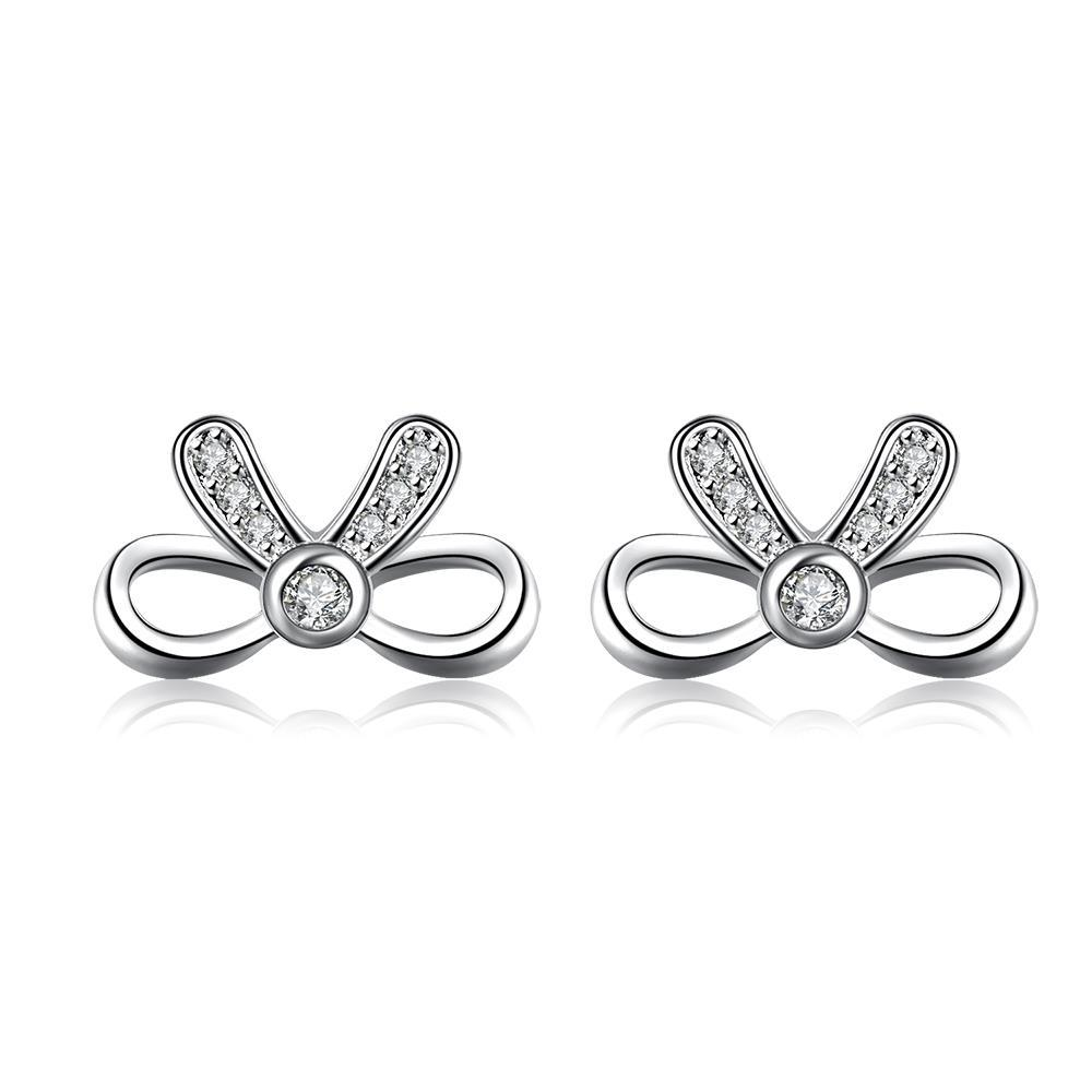 Vienna Jewelry Hollow Love-Knot Jewels Covering Stud Earrings