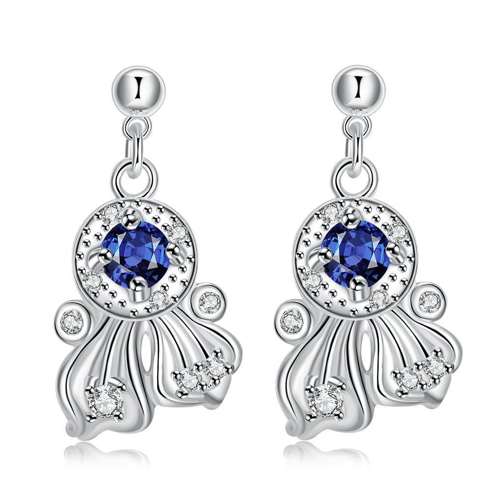 Vienna Jewelry Mock Sapphie Drop Spiral Lining Earrings