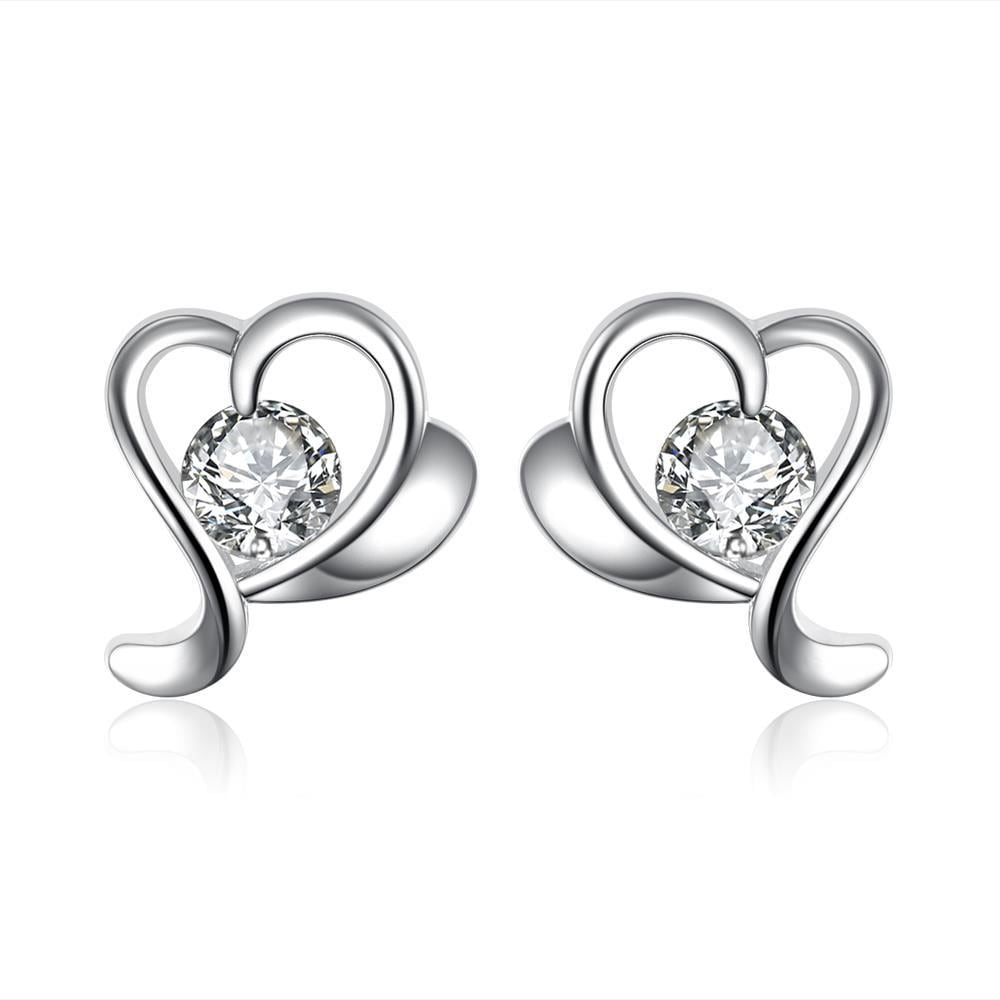 Vienna Jewelry Silver Tone Angular Heart Shaped Stud Earrings