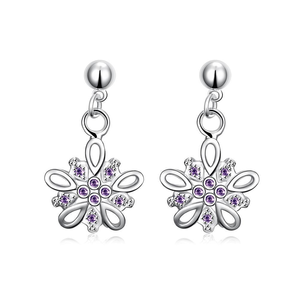 Vienna Jewelry Purple Citrine Jewels Clover Drop Earrings