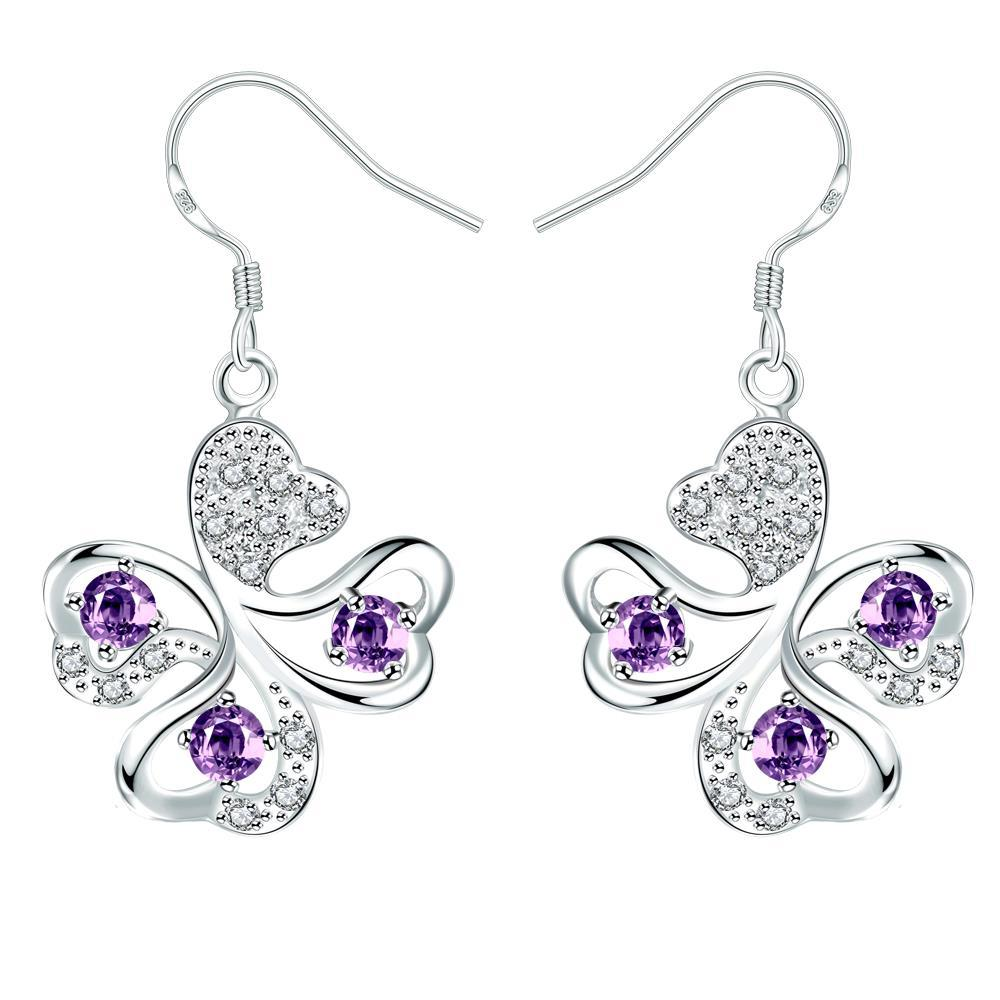 Vienna Jewelry Purple Citrine Clover Shaped Drop Earrings