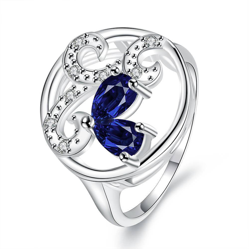 Mock Sapphire Trio-Curved Pendant Petite Ring Size 7