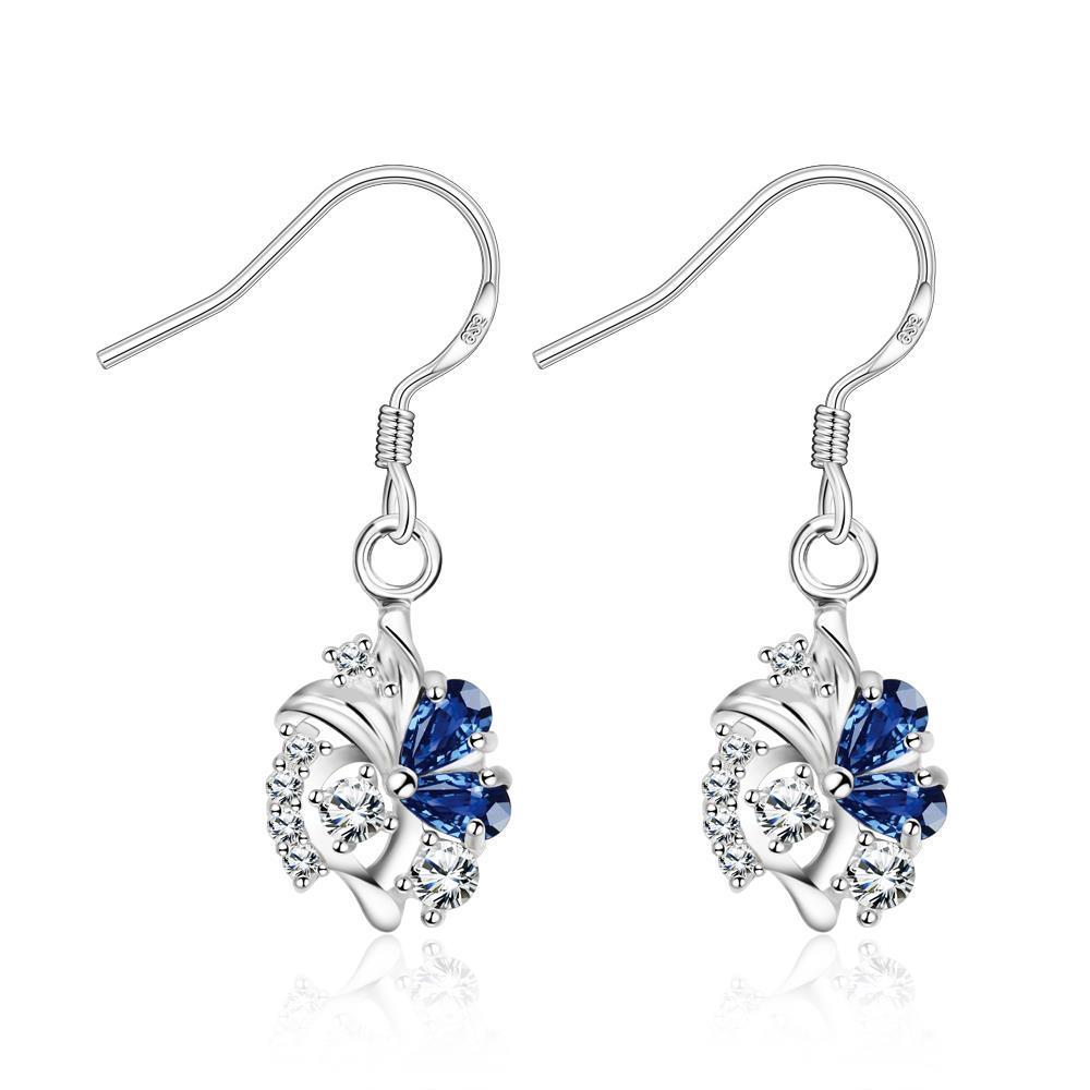 Vienna Jewelry Petite Spiral Sapphire Drop Earrings