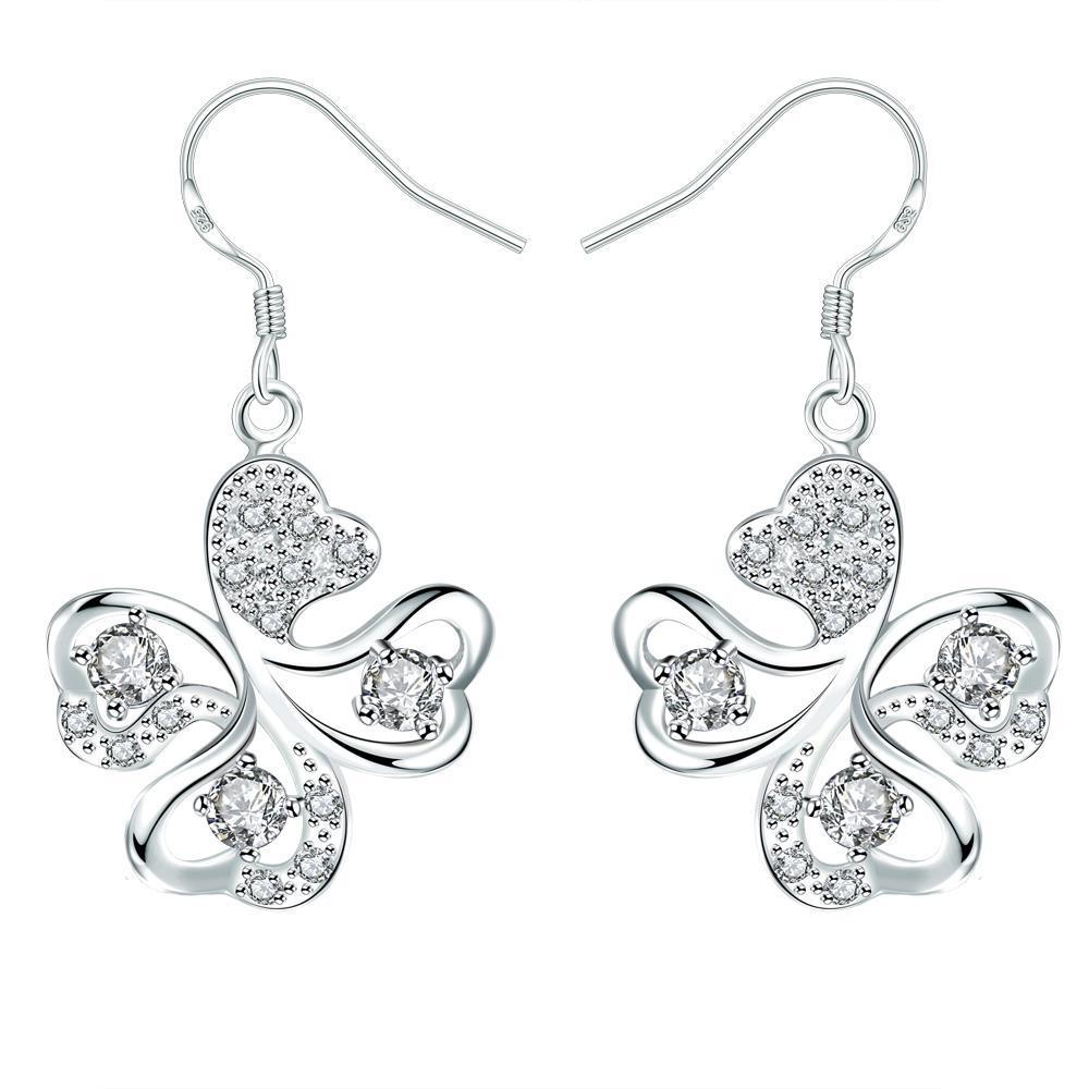 Vienna Jewelry Crystal Jewels Clover Shaped Drop Earrings