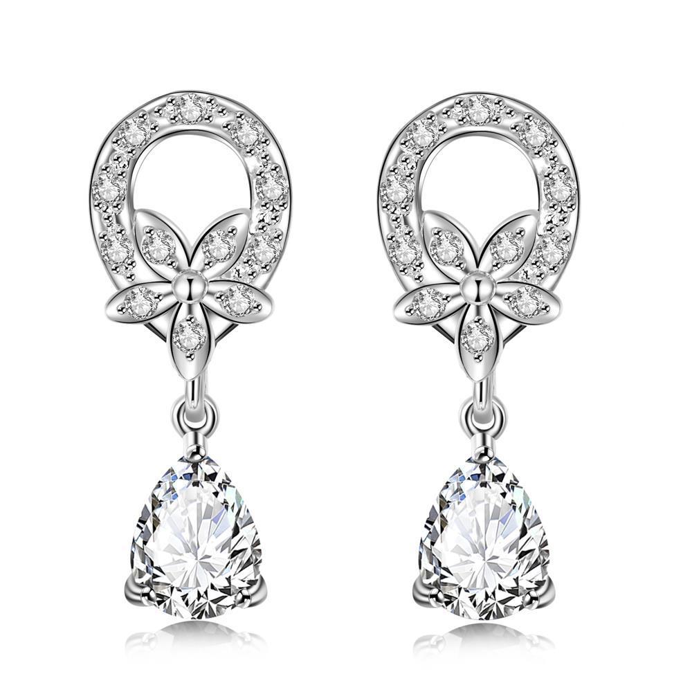 Vienna Jewelry Crystal Stone Spiral Emblem Drop Earrings
