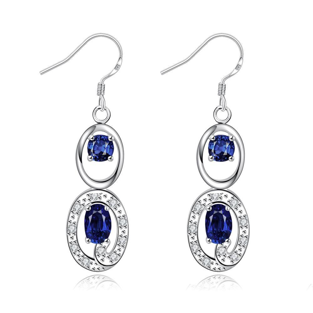 Vienna Jewelry Mock Sapphire Duo Drop Dangling Earrings