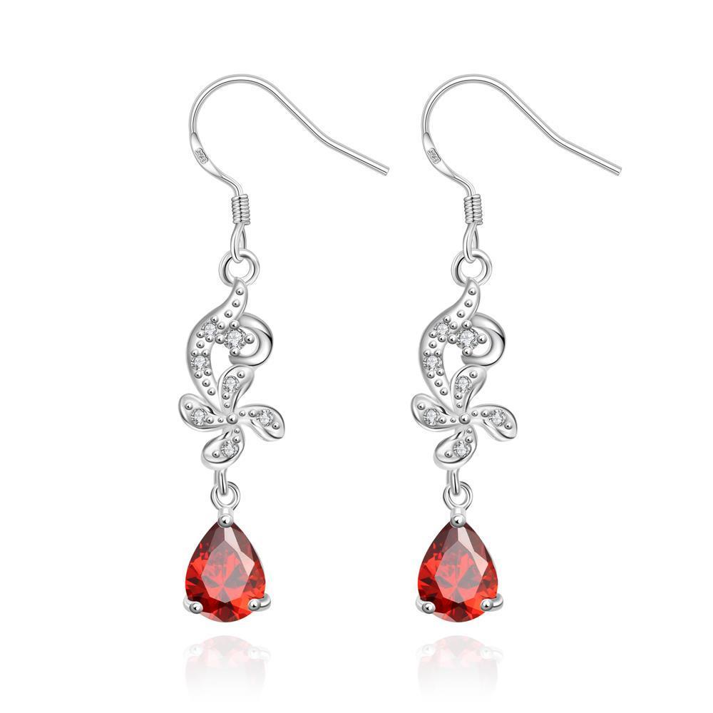 Vienna Jewelry Petite Ruby Red Gem Dangling Drop Earrings - Thumbnail 0