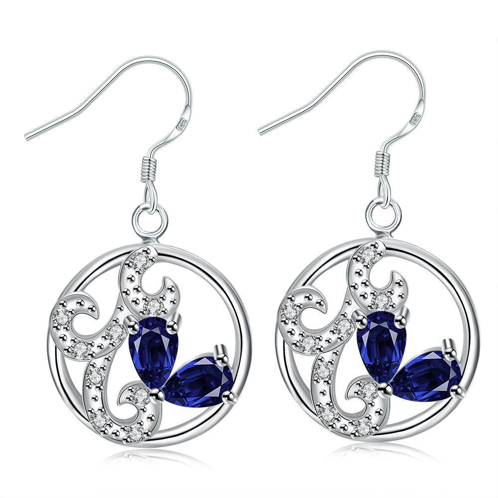 Vienna Jewelry Petite Mock Sapphire Laser Cut Spiral Drop Earrings