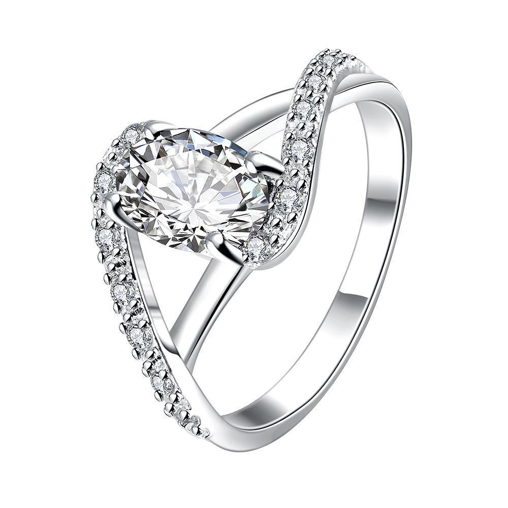 Petite Crystal Stone Swirl Design Twist Ring Size 8