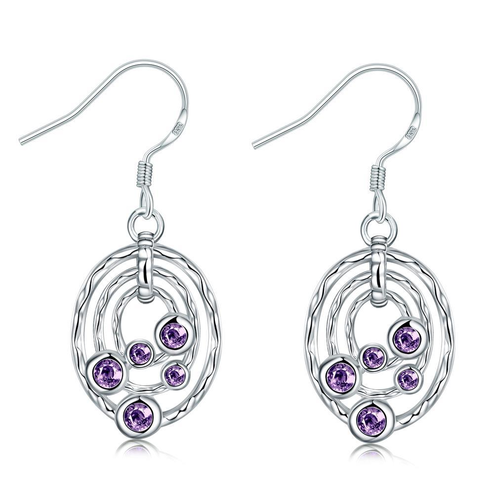 Vienna Jewelry Purple Citrine Circular Pendant Drop Earrings