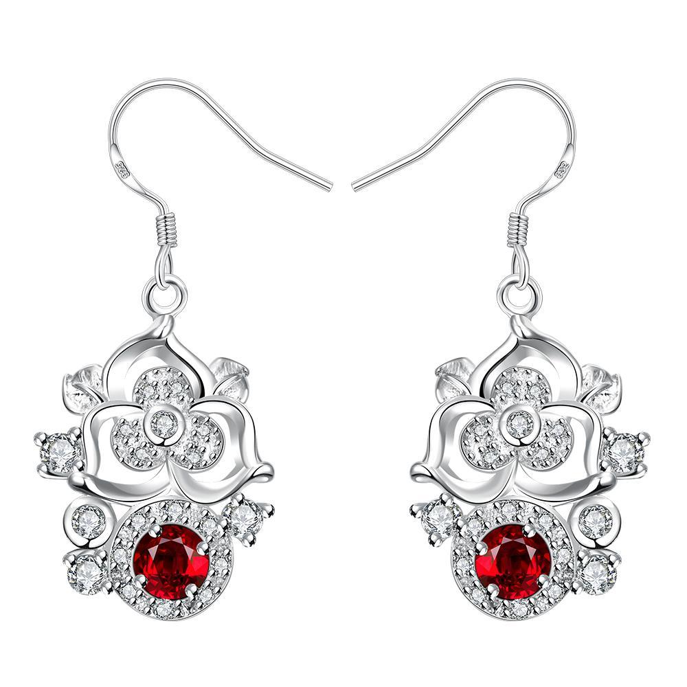 Vienna Jewelry Petite Ruby Red Gem Blossoming Clover Drop Earrings
