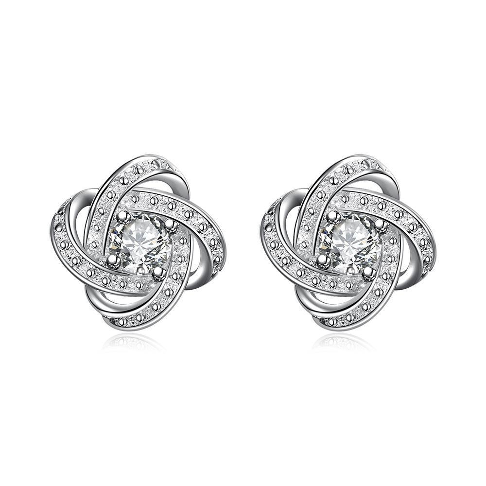 Vienna Jewelry Petite Silver Tone Infinite Knot Stud Earrings