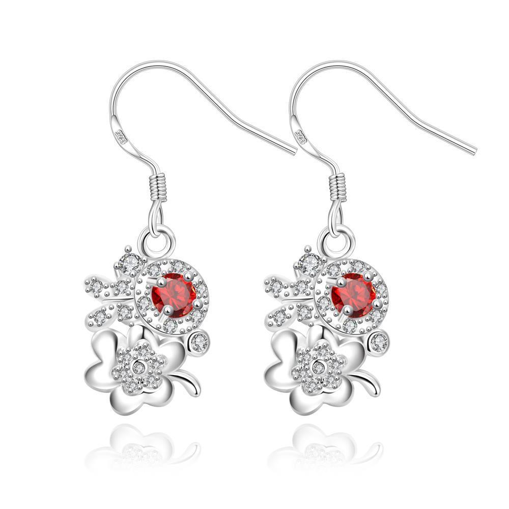 Vienna Jewelry Petite Ruby Red Floral Orchid Drop Earrings