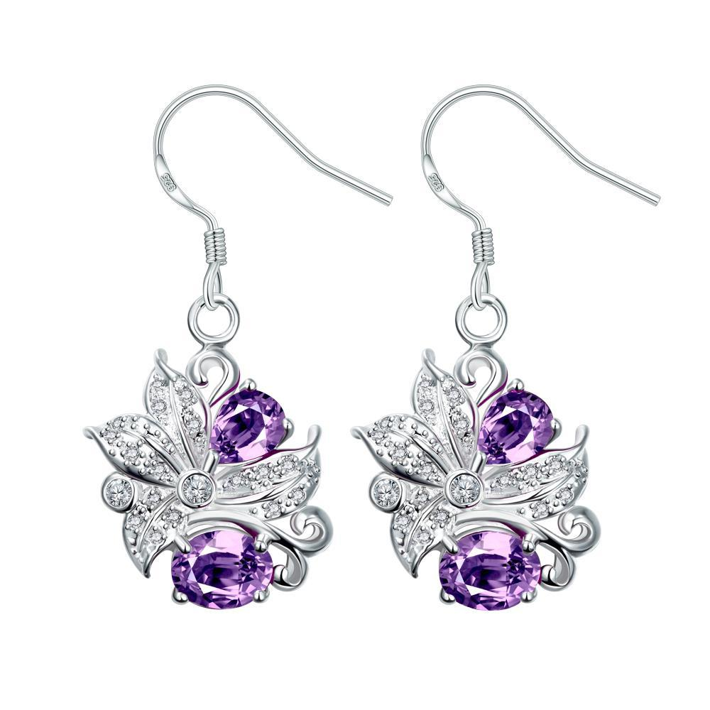 Vienna Jewelry Purple Citrine Floral Jewels Covering Drop Earrings