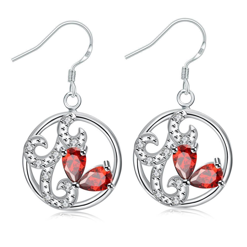 Vienna Jewelry Petite Ruby Red Laser Cut Spiral Drop Earrings