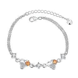 Vienna Jewelry Orange Citrine Triangular Emblem Petite Anklet - Thumbnail 0