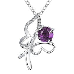 Vienna Jewelry Petite Purple Citrine Hollow Flying Butterfly Drop Necklace - Thumbnail 0