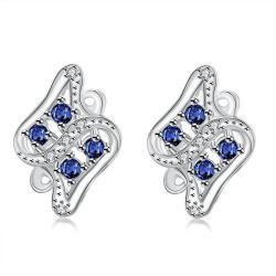 Vienna Jewelry Mock Sapphire Spiral Jewels Inlay Stud Earrings - Thumbnail 0