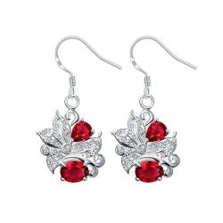 Vienna Jewelry Ruby Red Floral Jewels Covering Drop Earrings - Thumbnail 0