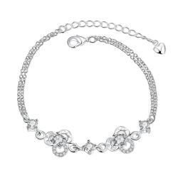 Vienna Jewelry Crystal Stone Hollow Floral Emblem Petite Anklet - Thumbnail 0