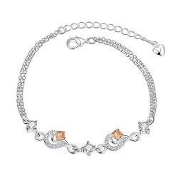 Vienna Jewelry Petite Orange Citrine Gem Anklet - Thumbnail 0