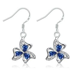 Vienna Jewelry Mock Sapphire Trio-Floral Petals Drop Earrings - Thumbnail 0