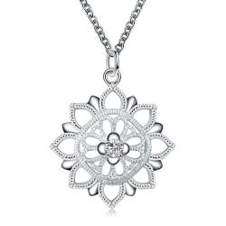 Vienna Jewelry Floral Snowflake Pendant Drop Necklace - Thumbnail 0