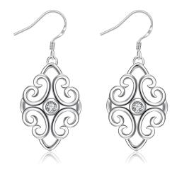 Vienna Jewelry Laser Cut Spiral Heart Drop Earrings - Thumbnail 0