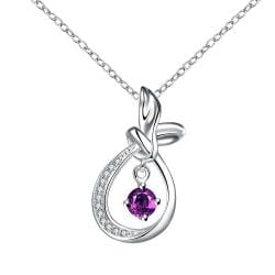 Vienna Jewelry Curved Abstract Dangling Purple Citrine Drop Necklace - Thumbnail 0