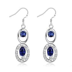 Vienna Jewelry Mock Sapphire Duo Drop Dangling Earrings - Thumbnail 0