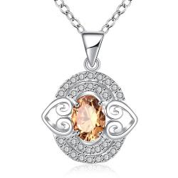 Vienna Jewelry Petite Orange Citrine Gem Circular Drop Necklace - Thumbnail 0